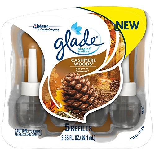 Glade Plugins Scented Oil Air Freshener Refill, Cashmere Woods, w/ 5 Refills