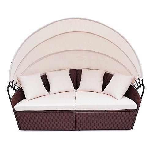 POLY RATTAN Sunbed Lounge Gartenset Sofa Garnitur Polyrattan Gartenmöbel (Braun)