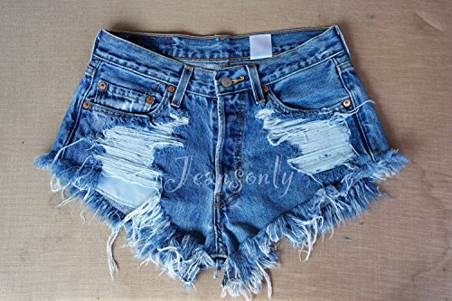 Hipster Grunge clothing Levi's High waisted denim shorts distressed destroyed ripped shredded jeans by Jeansonly