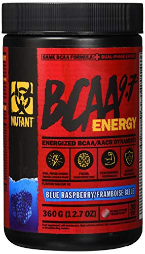 Mutant BCAA 9.7 Energy Powder with Branched-Chain Amino Acids, Electrolytes and Dual-Phase Caffeine for unstoppable energy with no crash. Blue Raspberry (360 g)