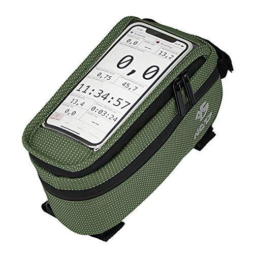 NC-17 Connect Universal Oberrohrtasche DOT / Fahrrad-, Smartphonetasche mit Klettverschluss, Staufach und Kabeldurchlass / für Smartphones aller gängigen Größen