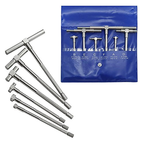 Ginode 5/16' to 6' 6 Pcs Telescoping Gage Set Range Micrometer Precision T-Bore Hole Gauge