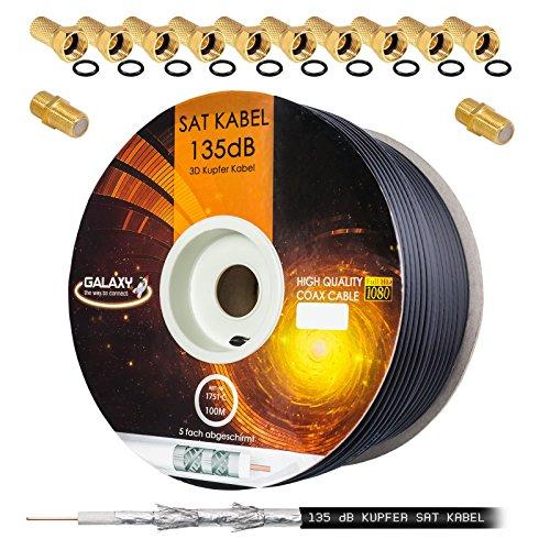 135dB 100m Koaxial SAT Kabel Reines KU Kupfer PRO 5-Fach geschirmt Schwarz Black Koax Antennenkabel für DVB-S / S2 DVB-C und DVB-T BK Anlagen + 10x vergoldete F-Stecker UND 2X F-Verbinder Gratis dazu