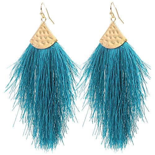 Vine Gems Pendientes de plumas con flecos para mujer, joyería bohemia, color azul