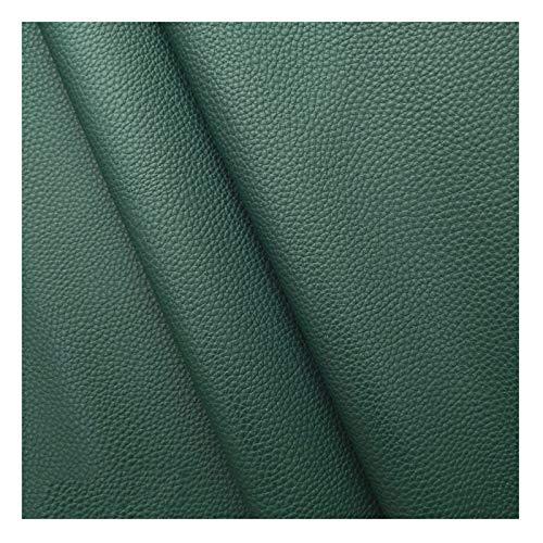140x100cm Tela de Cuero de Imitación Litchi Textura PU Tela de Polipiel para Tapizar 1 Mm de Espesor para Sofá Silla Manualidades Material de Bricolaje(Color:Green 28)