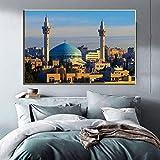La Meca Pintura al óleo del paisaje sagrado islámico imprime arquitectura religiosa Mezquita musulmana Imagen de pared para decoración de sala de estar | 60x90cm | Sin marco