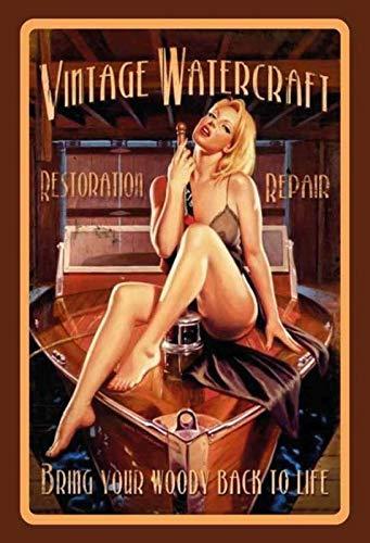 FS Pinup Girl Vintage Watercraft metalen bord gebogen metalen teken 20 x 30 cm