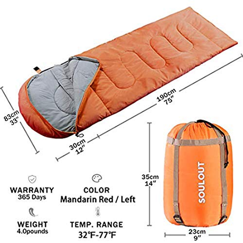 Envelope Sleeping Bag - 4 Seasons Warm Cold Weather Lightweight, Portable, Waterproof Compression Sack Adults & Kids - Indoor & Outdoor Activities: Traveling Camping Backpacking Hiking, Mandarin Red