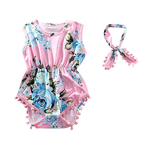 Hollyhorse Baby Girl Romper | Floral Baby Rompers for Baby Girls Headband Pink