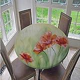 Fansu Runde Tischdecke Wasserabweisende, 3D Pflanze Blume Drucken Abwaschbar Gartentischdecke rutschfest Abwischbare Wachstuch Desktop Dekorative Tuch Hotel Bankett Party (Grüne Blume,100cm)