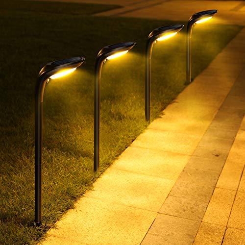 JSOT Luci Solari Esterno, 12 LED Lampade Solari Giardino [Bianco Freddo e Bianco Caldo] 2 Modalità Luce Solare Decorativa per Parete Strade, Giardini, Terrazze - 4 Pezzi