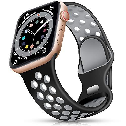 Epova Correa Deporte Compatible con Apple Watch 40mm 38mm, Mujeres Hombres Pulsera de Silicona Transpirable para iWatch SE Series 6 5 4 3 2 1, Negro/Gris, Pequeño