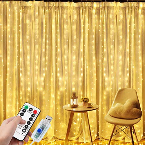 DIZA100 Curtain Lights, 300 LED Curtain Fairy Lights, 3m×3m USB Window Fairy String Lights with 8 Modes Remote Timer for Bedroom Party Wedding Indoor Outdoor Decoration(Warm White)