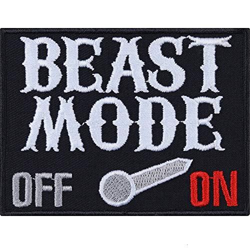 Beast Mode ON/Off Fitness Aufnäher Heavy Metal Aufbügler Hipster Patch Death Festival Dark Punk Abzeichen Trash Rocker Fan Bügelbilder DIY Applikation Jeans-Weste/Kutten/Jeans-Hose/Outdoor 80x60mm