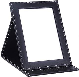 Folding Mirror PU Leather Customized Makeup Mirror Custom Creative Desktop Beauty Dressing Mirror Small 17.6×11cm Medium 20.5×15cm Large 25.4×17.8cm (Size : M)