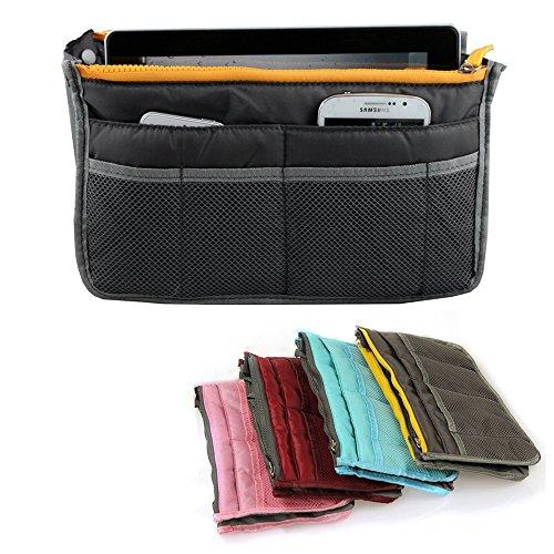yihengya Yihya Donne Travel Organizer Bag Viaggiare Organizzatore Sacchetto Borsa Pouch con Doppia Zip Fodera Inserire Tasche Multiple Tidy Cosmetici Pouch Borsa - (Grigio)