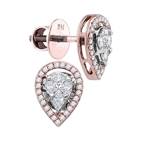 Pendientes de tuerca de oro rosa de 14 quilates con forma de lágrima y diamante ovalado de 1/2 quilates para mujer
