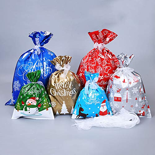 Benefree 30pcs Christmas Bags,Holiday Foil Gift Bags with Ribbon Tie, Gift Wrapping Sacks Pouches Christmas Goody Bags for Xmas Presents Party Favor, Large Medium Small