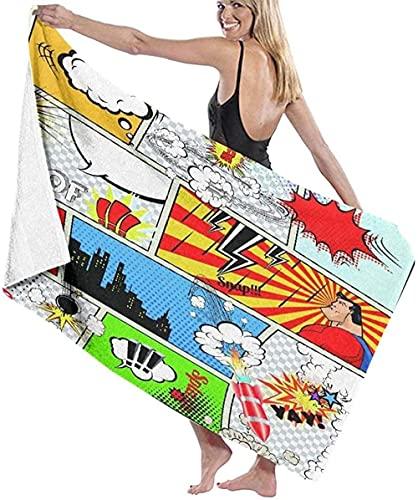 LUYIQ Asciugamano da Spiaggia in Microfibra,Asciugatura Rapida Telo Mare -Bolle di discorso del luogo comico-70x150CM,Sottile Teli Asciugamano Mare per Yoga, Piscina,Bagno