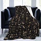CLERO& Warm Super Soft Cozy Fuzzy Lightweight Microfiber Plush Blankets Ancient Egyptian Hieroglyphs Black Gold Flannel Fleece Throw Blanket for Couch Sofa Bed 50 x 40 inch