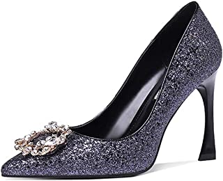 Large Size Fashion Stiletto Heels Women's Buckle Wild Rhinestone Pointed Single Shoes Size Code [32~42] Social Women's Shoes (Color : Blue, Size : 42)