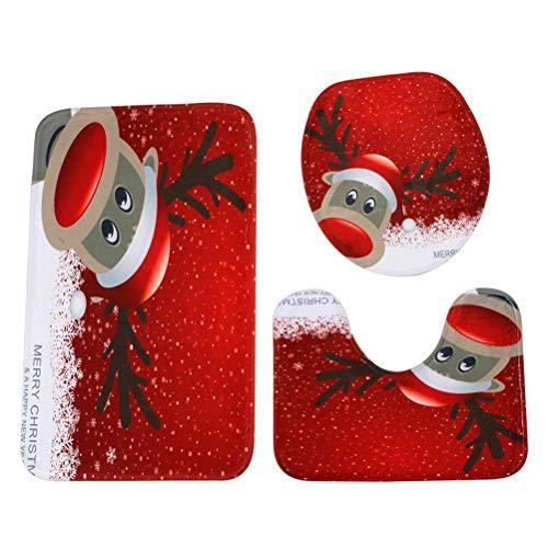 BESTOYARD Badematten 3tlg Sockel Mat Set Weihnachten Rentier Gedruckt Muster WC Deckel Toilettenmatte Set rutschfeste Bad Teppich Weihnachtsdeko 3 Stück