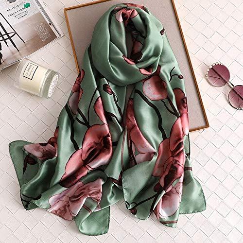 YDMZMS damesjaal met bloemenpatroon, bedrukt, lang, knuffelig, hoogwaardig, zachte bandana Lady halsdoek Hijab Femme FS429 groen