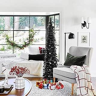 HOHOTIME Tinsel Christmas Tree 5ft, Detachable Artificial Black Christmas Pencil Tree, Slim Pop-Up Tree for Christmas Home Decor, Christmas Party Decorations