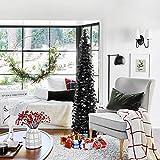 HOHOTIME Tinsel Christmas Tree 5ft, Detachable Artificial Black Christmas Pencil Tree,...