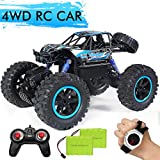 JDBABY RC Car, Remote Control Truck with Gesture Sensor Watch ,2.4Ghz 1/14 Scale Off Road Vehicle, All Terrain Hobby Toys Trucks for Boys Kids & Adults (Blue)