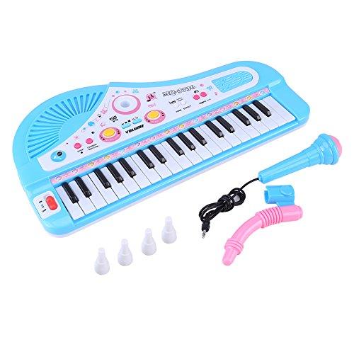 Focket Kid Piano Toy, Mini Teclado Electrónico Multifuncional Piano 37 Teclas Pink Musical Instrumento Educativo de Juguete con Micrófono Móvil para Niños