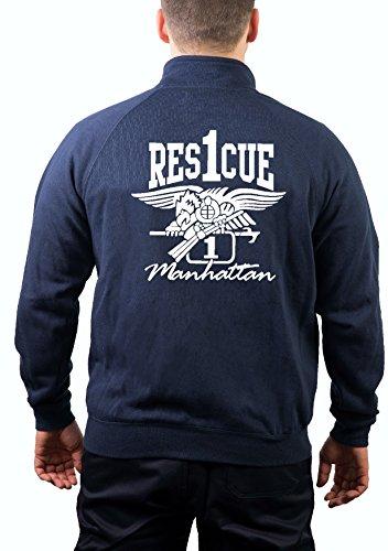 feuer1 Veste de survêtement « Rescue 1 Manhattan with Eagle » New York City Fire Department XXL Bleu Marine