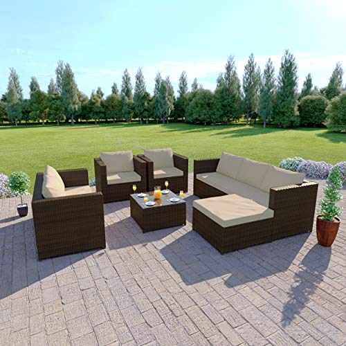 Abreo Rattan Corner Garden Sofa Furniture Set With Sofa Arm Chair + Table 7 Seats (Brown with Light Cushion)