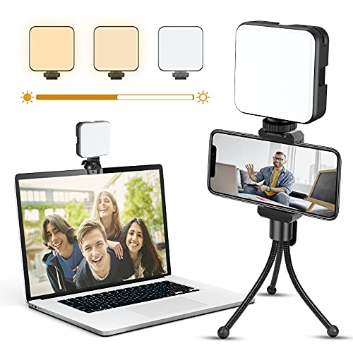EZCO Video Light Kit, LED Portable Zoom Light Clip On Camera Laptop Computer with 3 Dimmable Color & Brightness for Video Conference Lighting/Desktop Lighting/Photography Lighting w 3 Cold Shoe