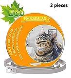 PROZADALAN Collare Antipulci per Gatti Impermeabile, Gatto Antipulci Collare Pulci e Zecche Collare, 8 Mesi di Efficacia Protezione Pettorale in Gomma Repellente (2PCS)