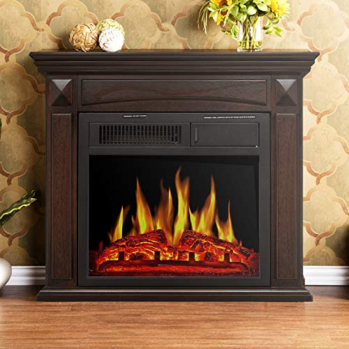 Antartic Star Mantel Electric Fireplace, Freestanding Wooden Surround Firebox , Adjustable Led Flame, Remote Control, 750W-1500W, Brown