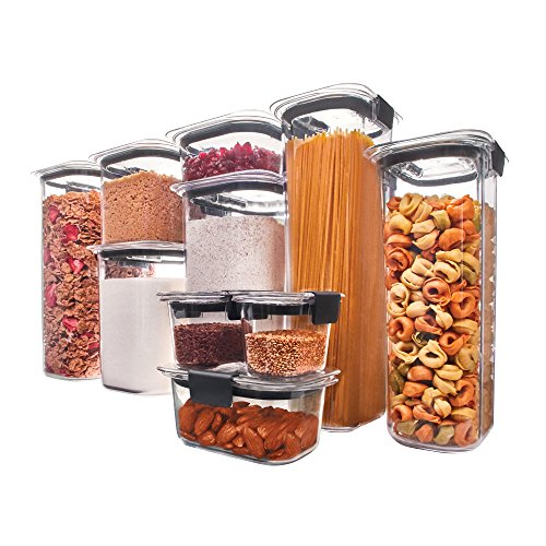 Rubbermaid Brilliance Pantry Airtight Food Storage Container, BPA-free Plastic, 10-Piece set with Lids
