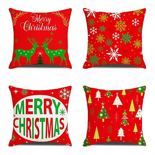 Anbaituor Kissenbezüge Weihnachten, 4er Set Baumwolle Leinen Drucken Kissen Kissenbezüge Dekorative Kissenhülle Für Sofa Büro - 45 x 45cm