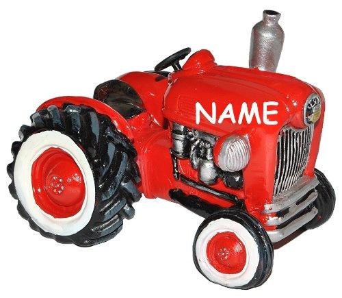 alles-meine.de GmbH Spardose Traktor / Oldtimer - mit Name - stabile Sparbüchse aus Kunstharz - Auto Fahrzeug Geld Sparschwein Trecker Fahrzeuge lustig witzig