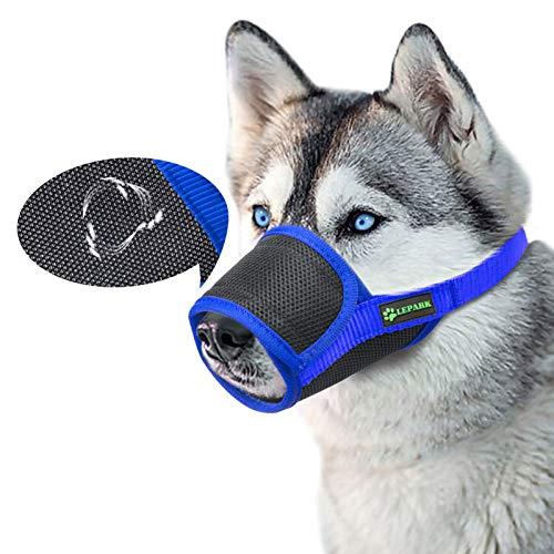 ILEPARK Respirable Bozal de Nylon para Perros Suave Permite Beber, Jadear Bozal Lazo Ajustable (XL,Azul)