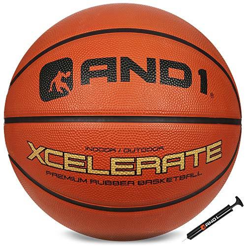 Balón de baloncesto de goma Xcelerate AND1 (bomba incluida): regulación oficial tamaño 7 (29.5') Streetball, hecho para interior/exterior juegos de baloncesto