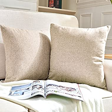 Hey Tang Pack of 2, Cotton Linen Soft Soild Decorative Square Throw Pillow Covers Set Cushion Case for Sofa Bedroom Car 18 x 18 Inch 45 x 45 Cm,Beige
