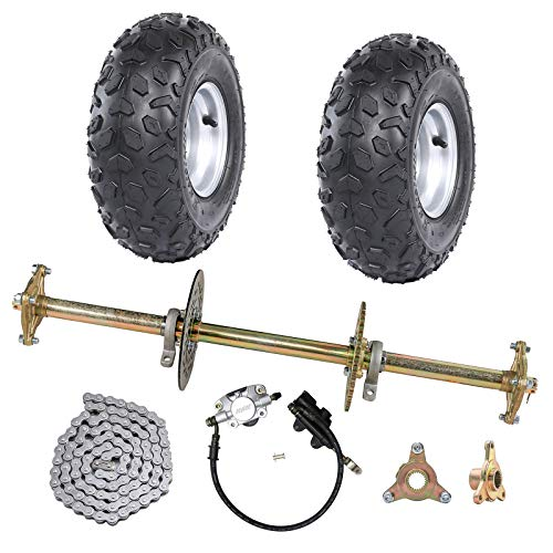 """ZXTDR 1"""" Steel Live Axle Kit with 145/70-6 Tubeless Wheels Tires Rim and Chain Sprocket Brake Master Cylinder for Go Kart Quad Trike Golf Carts"""