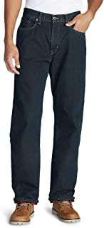 Men's Flannel-Lined Jeans - Relaxed Fit, Dk Heritage Regular 34/36