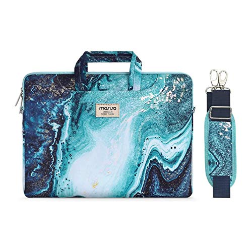 MOSISO Laptop Shoulder Bag Compatible with MacBook Pro Air 13 inch, 13-13.3 inch Notebook Computer, Creative Wave Marble Briefcase Sleeve with Trolley Belt