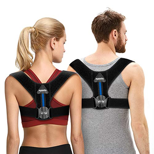 Upgrade Posture Corrector for Men & Women, APPOLIS Adjustable Gear Design Back Straightener, Breathable Clavicle Support, Providing Pain Relief from Neck, Back and Shoulder (Unisex)