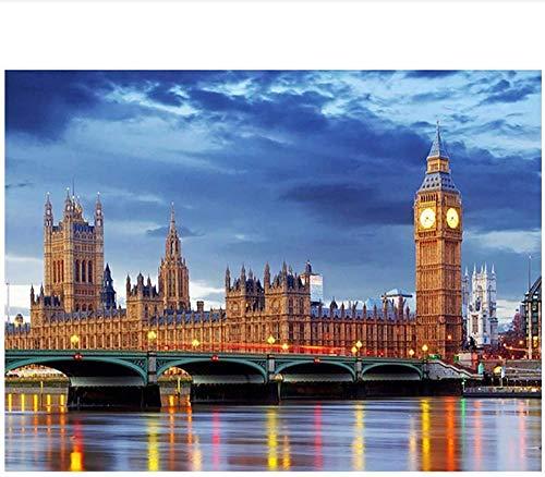 liujiu Big Ben peinture bâtiment nuit vue bâtiment affiches toile peinture mur Art peintures pour salon décor -20x28 pouces pas de cadre 1 pièces