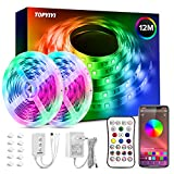 Tiras LED 12M RGB 5050 Música, TOPYIYI Bluetooth Luces de Tiras LED, luces led habitacion Controladas por APP, IR Control Remoto y Controlador, 16 Milliones de Colores, Modo de Horario para Hogar, Bar