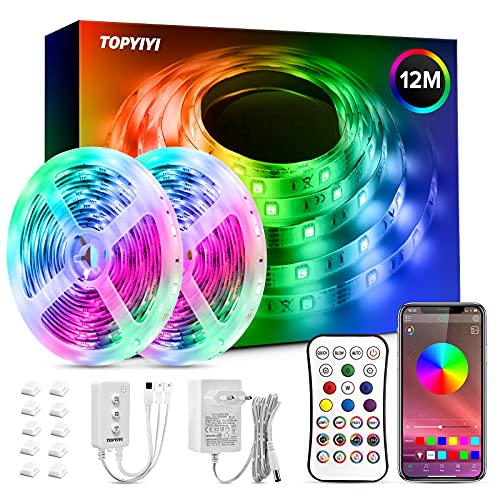 LED Strip 12m, TOPYIYI RGB LED Streifen mit 288 LEDs und App Bluetooth Kontroller, Fernbedienung, Sync zur Musik, Dimmbar Farbwechsel LED Band für Decke Küche Zimmer Wand Bett
