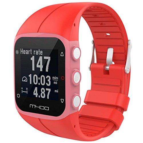 Correas Colores Bandas de Reemplazo Suave Silicona Correas Pulsera Para M430 GPS Reloj Smartwatch, Ancho de Bbanda 23MM by Saisiyiky (Rojo)